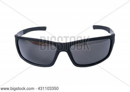 Mens Black Sunglasses Isolated On White Background.