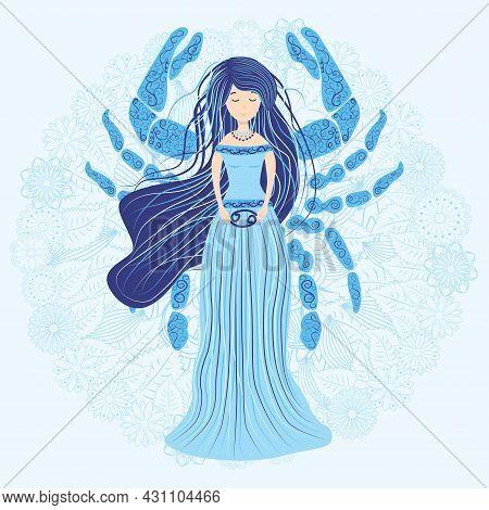 Zodiac, Cancer Zodiac Sign Illustration As A Beautiful Girl With Braids. Vintage Zodiac Boho Style F