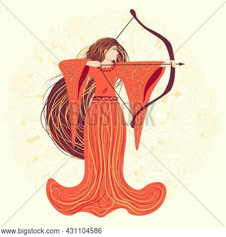 Zodiac, Sagittarius Zodiac Sign Illustration As A Beautiful Girl With Braids. Vintage Zodiac Boho St