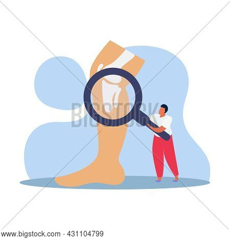 Orthopedics Clinic Flat Composition With Man Holding Hand Glass With Bones In Human Leg Vector Illus