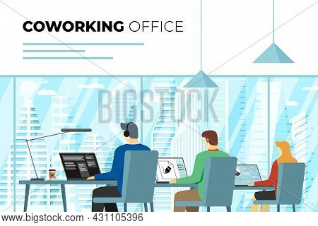Coworking Center Open Space Office With Freelance Persons. Professional Coworker Workplace. Programm