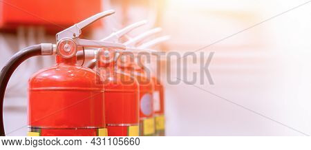 Red Tank Of Fire Extinguisher Overview Of A Powerful Industrial Fire Extinguishing System.