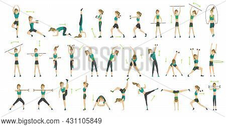 Woman Fitness. Big Set Of Colored Vector Silhouettes Of Slim Woman In Costume Doing Fitness Workout