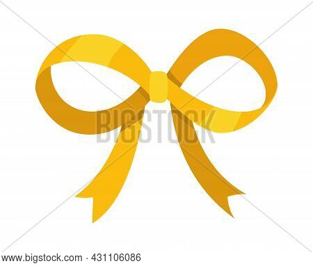 Gold Bow. Cartoon Vector Yellow Luxury Design Element Of Wrap Pack. Satin Bow With Ribbon Isolated O
