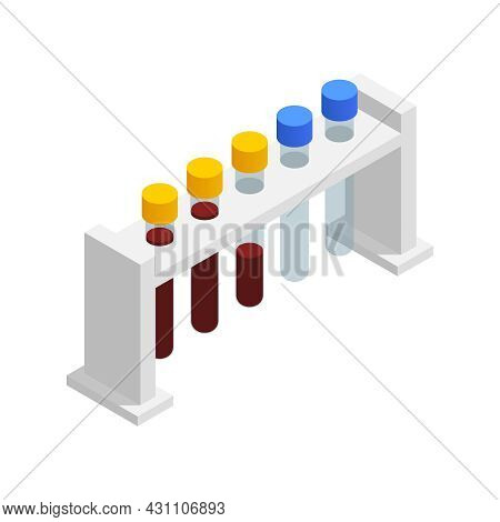 Microbiology Biotechnology Isometric Composition With Isolated Image Of Five Test Tubes In Holder Ve