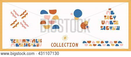 Whimsical Henri Matisse Style Cut Out Shape Pattern Set. Seamless Collage Retro Allover Print And Ic