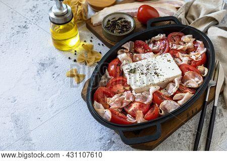 Ingredient For Baked Feta Pasta, Or Tiktok Pasta. Oven Baked Feta Pasta Made Of Tomatoes, Feta Chees
