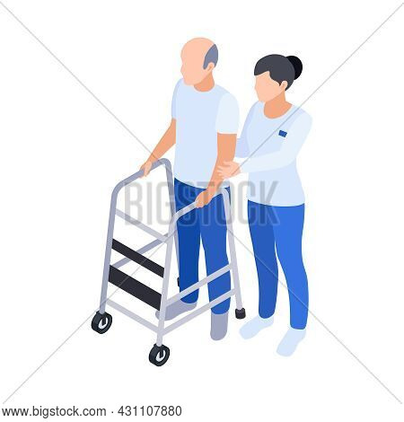 Physiotherapy Rehabilitation Isometric Composition With Female Doctor Assisting Male Patient To Walk