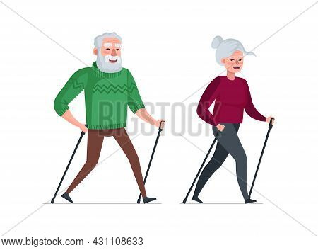 Elderly Couple Retired Leisure Time Together. Nordic Walk Active Cheerful Healthy Old People. Senior