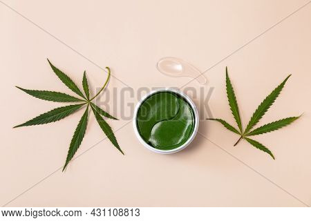 Hydrogel Green Eye Patches In Jar. Hydrogel Anti Aging And Lifting Care. Cannabis Leaf Skincare Cosm