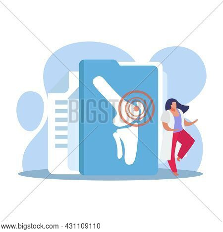 Orthopedics Clinic Flat Composition With Folder Leg Bones Image And Female Doctor Character Vector I
