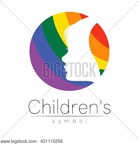 Children Vectot Logo Care Sign Or Symbol. Silhouette Profile Human Head. Concept Logo For People, Ch