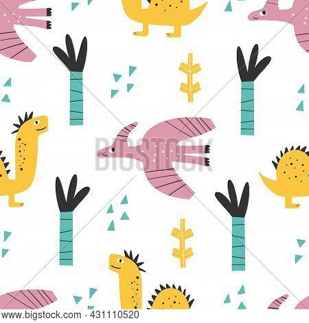 Cute Dinosaur Pattern - Hand Drawn Childish Dinosaur Seamless Print Design Digital Paper Vector Illu
