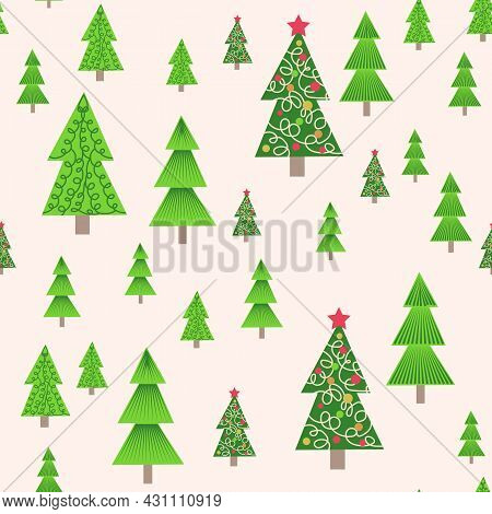 Christmas Tree Seamless Pattern. Winter Forest, Pine Trees And Snowflakes Print For Fabric, Wrapping