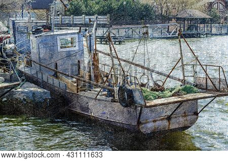 Fishing Boats Moored At The Pier. Several Small Fishing Longboats With Coiled Fishing Nets. Industri