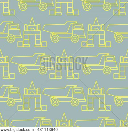 Vector Seamless Pattern With Kid Toys. Dump Truck, Cubes, Blocks For Construction. Primary School, E