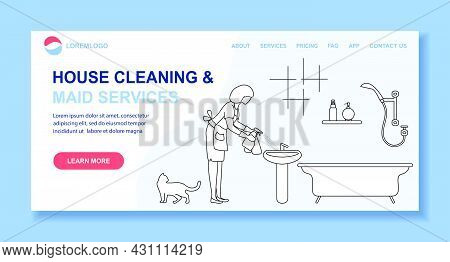 Vector Illustration Apartment House Cleaning Maid Service Woman Washing Plumbing In Bathroom. Profes