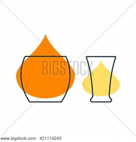Two Glasses With Whiskey And Tequila. Shot Glass Drinks. Template Alcohol Beverage For Restaurant, B