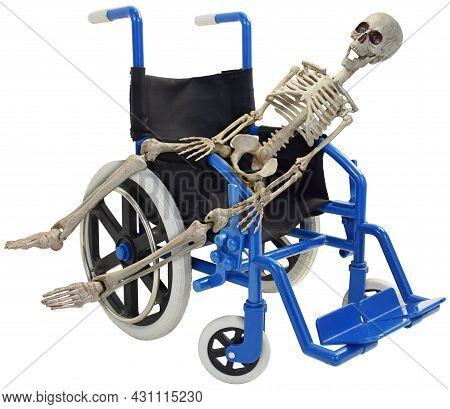 Skeleton Laying Across A Blue Wheelchair Three Quarter View