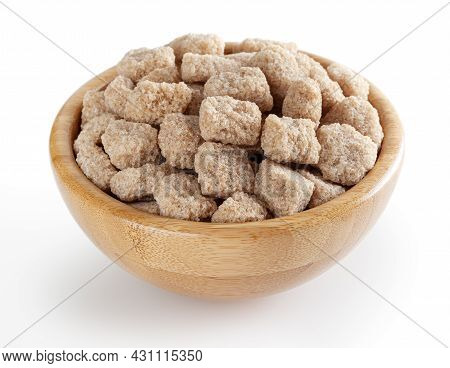 Cubes Of Brow Cane Sugar In Wooden Bowl Isolated On White Background With Clipping Path