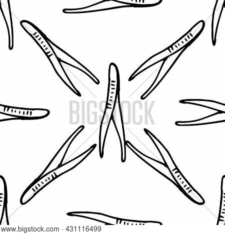 Seamless Pattern Of Medical Scalpels.vector Pattern Of Metal Scalpels Drawn In The Style Of Doodles,