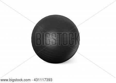 Black Fitness Ball Isolated On White Background. Pilates Training Ball. Fitball 3d Rendering Model F