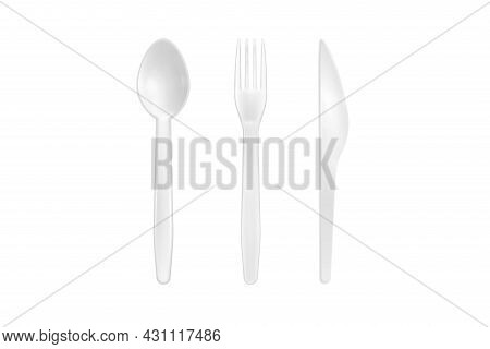 White Plastic Spoon, Fork And Knife Isolated On White Background. Close Up Of Disposable Tableware.