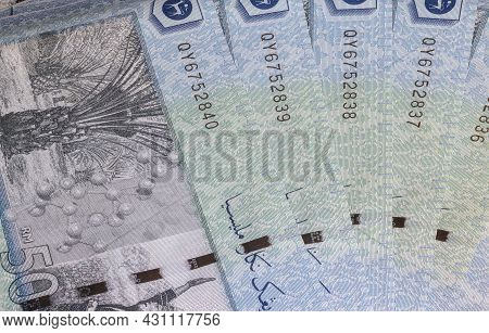 Close Up Of Fifty Ringgit Malaysia. Detailed Macro Capture Of Brand New Rm 50 With Sequential Number