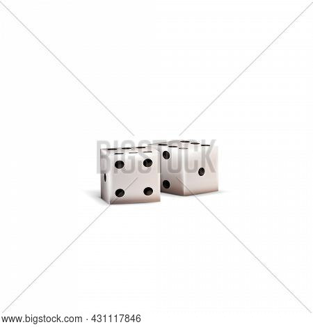 Realistic 3d Dice Isolated On White Background. White Cube With Black Dots For Table Games
