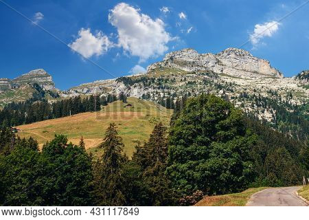 Beautiful Panoramic View On The Peaks Of The Tour De Mayen And The Tour D'aï In Summer High Up In Th