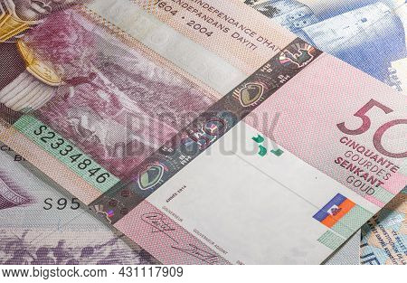 Close Up To Gourde Or Gourdes Of The Republic Of Haiti. Paper Banknote Of The Caribbean Country. Det
