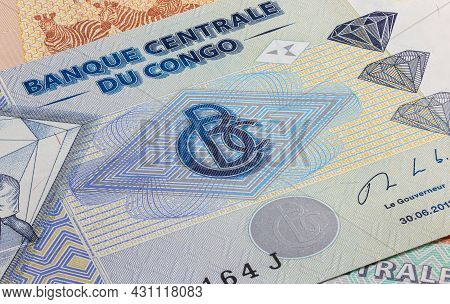 Close Up To Five Thousand Francs Of The Republic Of Congo. Paper Banknote Of The African Country. De