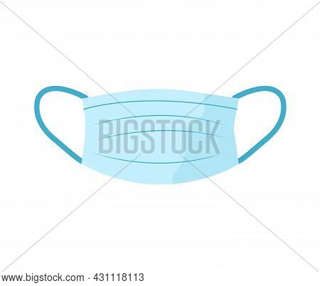 Blue Protection Face Mask With Ear Straps. Procedure Mask To Cover Mouth And Nose To Protect From Vi