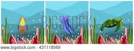 Set Of Three Square Composition With Underwater Landscape With Squid, Jellyfish And Turtle. Undersea
