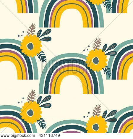 Trendy Seamless Pattern With Colorful Rainbow, Flowers On Color Background. Design For Invitation, P