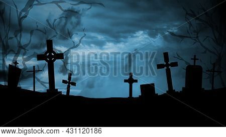 Scary And Mystical Cemetery At Night With Tombstones, Graves And Crosses On A Moonlight Night. Hallo