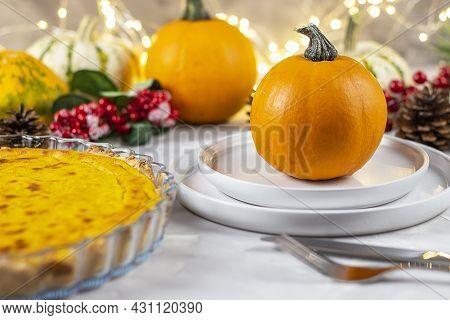 Pumpkin Pie And Pumpkin. Traditional Dinner Thanksgiving. Fresh Pumpkin Pie. Copy Space