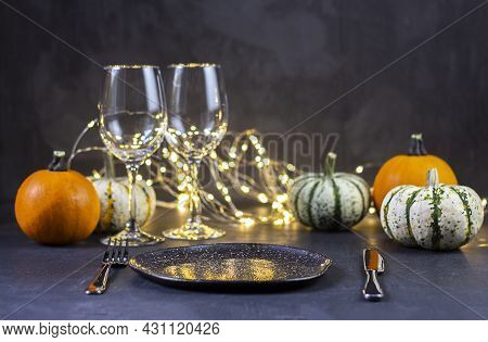Traditional Thanksgiving Dinner. Thanksgiving Day Dinner. Holiday Served Table Decorated With Pumpki