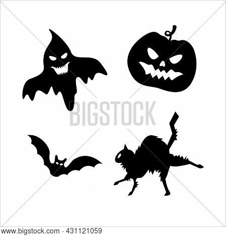 Set Of Halloween Pictures With Pumpkin, Ghost, Black Cat, Bat. Isolated Vector Illustration. A Set O