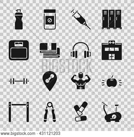 Set Stationary Bicycle, Apple, Gym Building, Doping Syringe, Towel Stack, Bathroom Scales, Fitness S