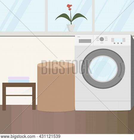 Concept Of A Home Laundry With Large Windows And A Flower On The Windowsill. Washing Machine With La