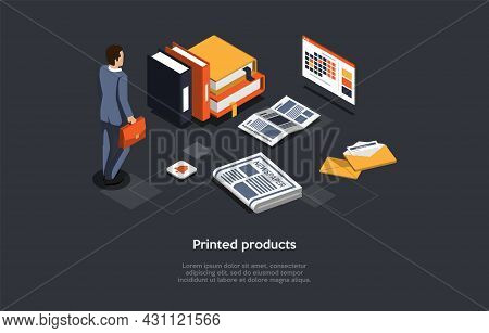 Vector Illustration On Dark Background. Isometric Composition On Printed Products Concept. Cartoon 3