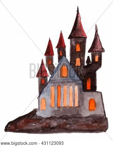 Watercolor Hand Drawn Halloween Illustration With Dracula's Castle. Decoration For Menu Or Postcard