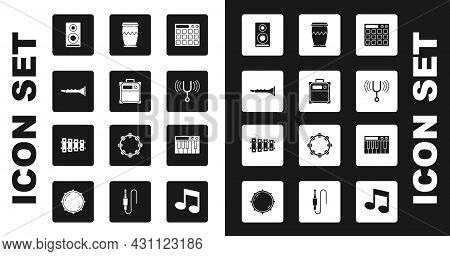 Set Drum Machine, Guitar Amplifier, Clarinet, Stereo Speaker, Musical Tuning Fork, Synthesizer And X