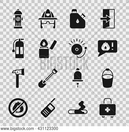 Set First Aid Kit, Fire Bucket, Telephone Call 911, Canister Fuel, Lighter, Extinguisher, Hydrant An