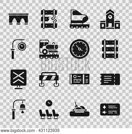 Set Road Traffic Signpost, Train Ticket, Railway, Railroad Track, High-speed Train, Vintage Locomoti