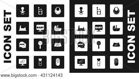 Set Baby Bib, Potty, Dummy Pacifier, Stroller, Monitor Walkie Talkie, Ultrasound Of Baby And Speech