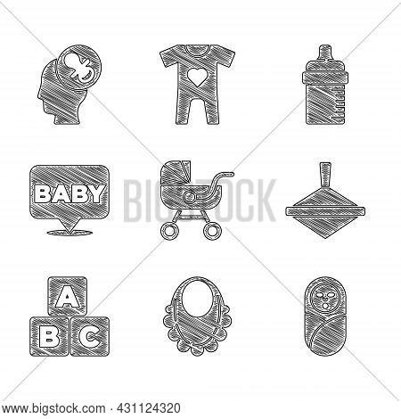Set Baby Stroller, Bib, Newborn Baby Infant Swaddled, Whirligig Toy, Abc Blocks, Bottle And Dummy Pa