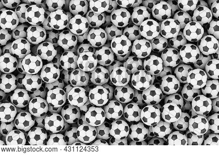 Backdrop From Soccer Balls Or Football Balls, 3d Rendering