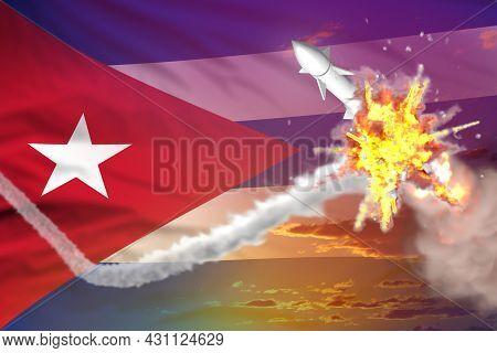 Strategic Rocket Destroyed In Air, Cuba Ballistic Missile Protection Concept - Missile Defense Milit